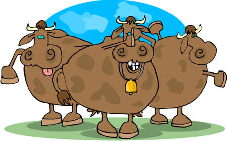 cowering: Cowering Cows Illustration