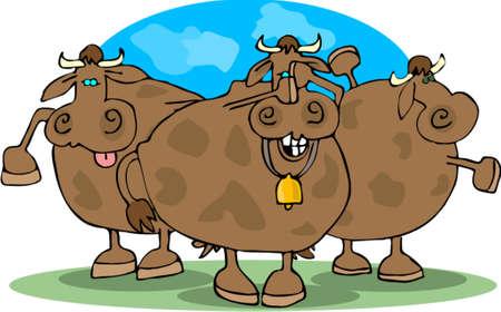 Cowering Cows Иллюстрация