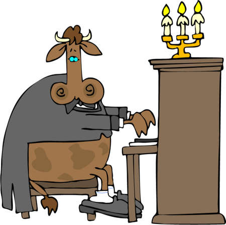 upright: Cow Pianist Illustration