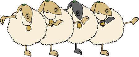 Sheep Chorus Line Vector
