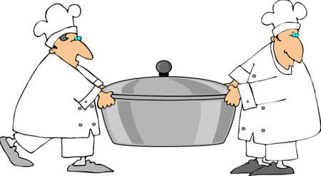 lift and carry: Two Chefs Carrying A Large Pot