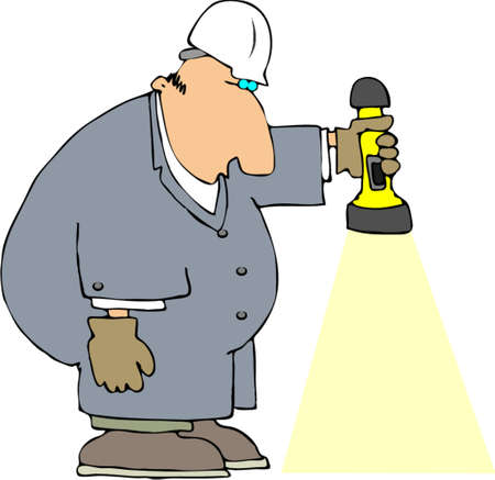 taschenlampe: Arbeitnehmer mit einer Taschenlampe Illustration