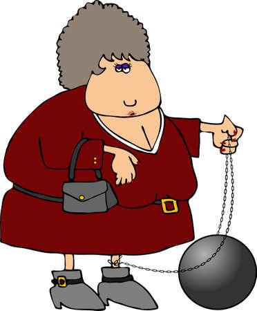 ball chain: Ball & Chain Woman Stock Photo