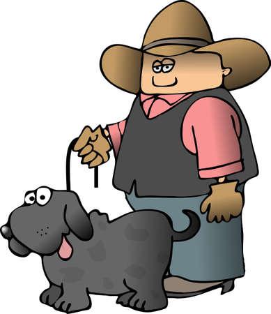 Cowboy And His Dog Фото со стока