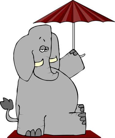 Elephant Under An Umbrella Stock fotó - 1126435