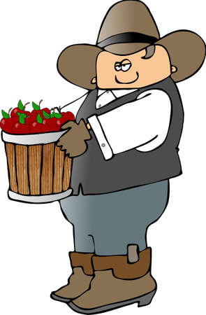 Cowboy With A Bucket Full Of Fruit Stock fotó