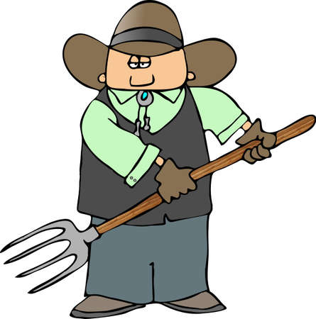 Cowboy With A Pitchfork photo