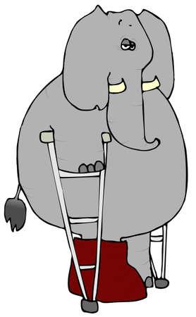 Elephant On Crutches Stock fotó - 1260291
