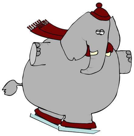 Elephant On Ice Skates Stock fotó - 1327882