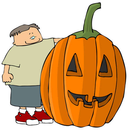 Boy With A Giant Jack-o-lantern Stock Photo
