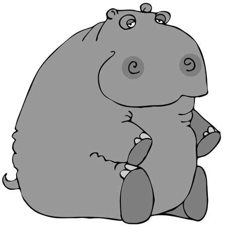 Sitting Hippo Zdjęcie Seryjne