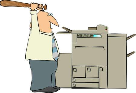 Man Beating A Copy Machine 版權商用圖片