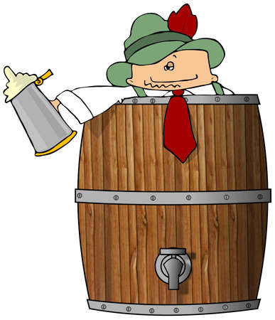 Drunk Man In A Beer Barrel Stock Photo - 1897235