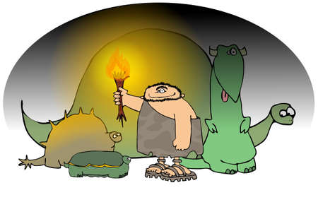 Caveman With A Torch And Dinosaurs