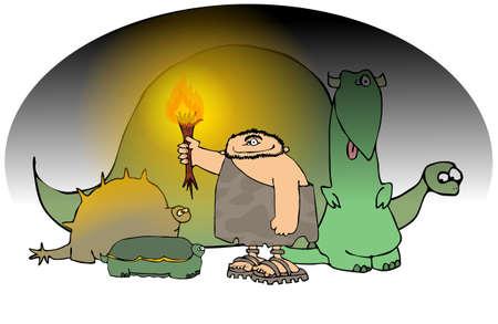 Holbewoner met een zak lamp en Dinosaurs  Stockfoto