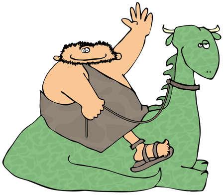 Caveman Riding A Dinosaur Stock Photo