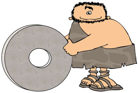 Caveman And The Wheel Banco de Imagens