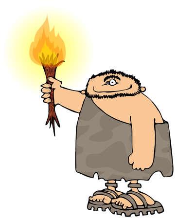 Caveman met een zaklantaarn Stockfoto