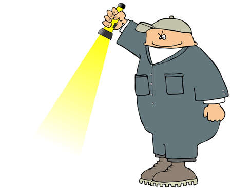 flashlight: Worker With A Flashlight