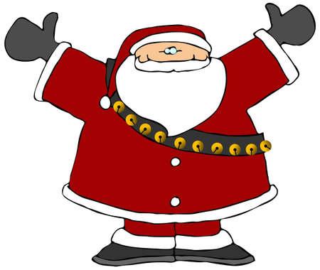 Santa With His Arms Raised Stok Fotoğraf