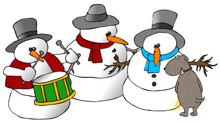 Snowman Group And A Dog