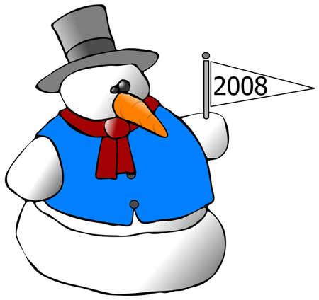 新年雪だるま 写真素材