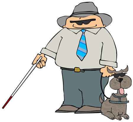 Blind Man With A Dog