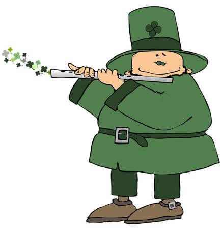 Leprechaun Playing A Flute Stock Photo - 2299848