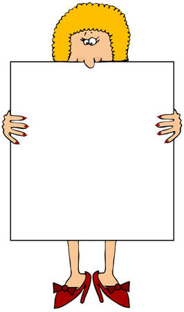 Woman With A Large Blank Sign