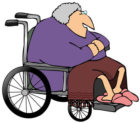 Old Woman In A Wheelchair Stock Photo
