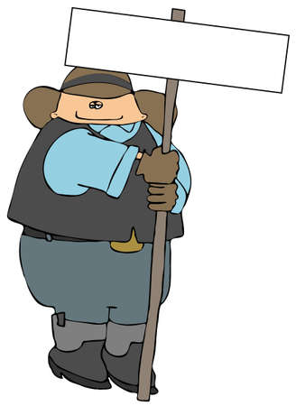Cowboy With A Large Blank Sign