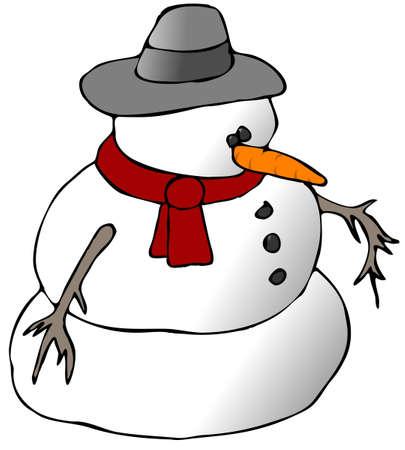 赤いスカーフ雪だるま 写真素材