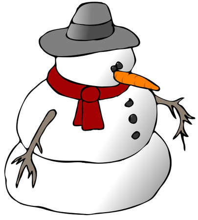 Sneeuwpop Met een rode sjaal Stockfoto