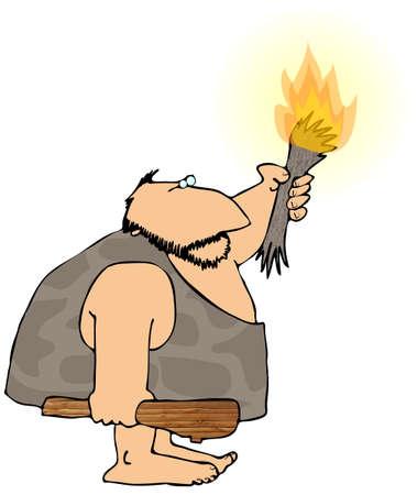 Caveman Met een zaklamp