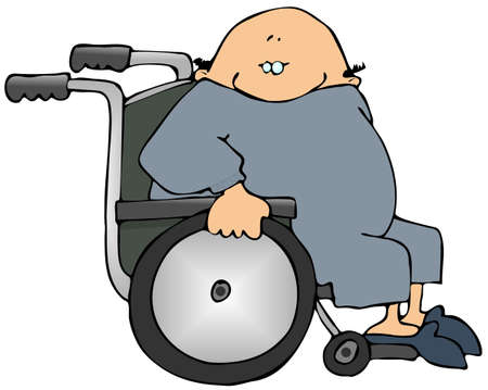 This illustration depicts a man sitting in a wheelchair.