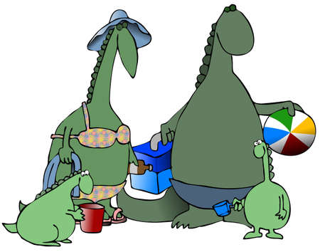 Dinosaurs At The Beach