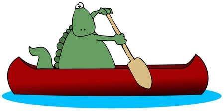 Dinosaur In A Canoe