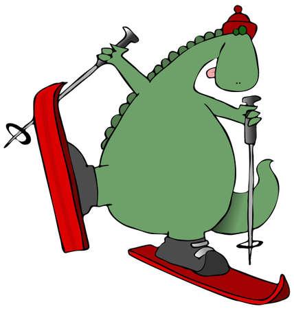 スキーで恐竜