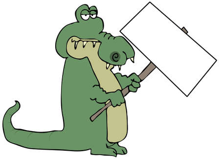 Gator Holding A Sign