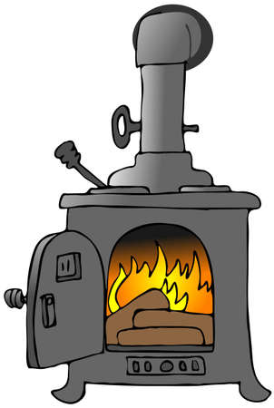 cast iron: Wood Stove Stock Photo