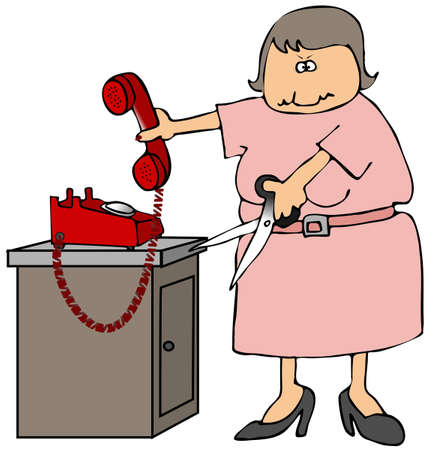 phone cord: Cut The Phone Cord Stock Photo