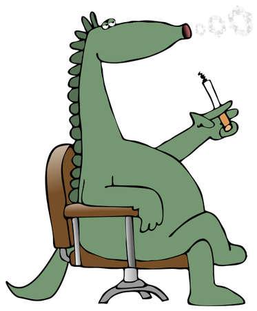 Dinosaur Blowing Smoke Rings