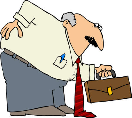 hunched: This illustration depicts a businessman bent over with a sore back.