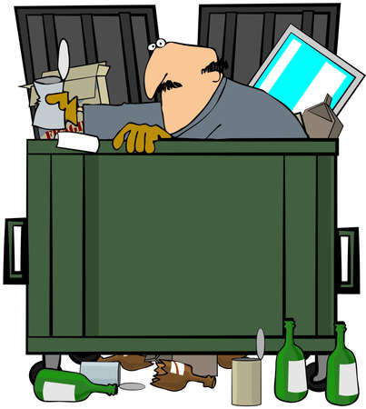 This illustration depicts a man rummaging through a garbage dump.