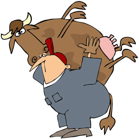 This illustration depicts a man carrying a cow on his back.