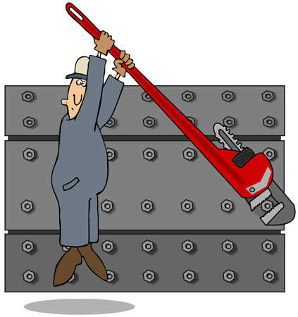 loosening: This illustration depicts a worker loosening nuts with a giant pipe wrench.