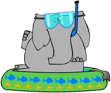kiddie: Elephant In A Kiddie Pool Stock Photo