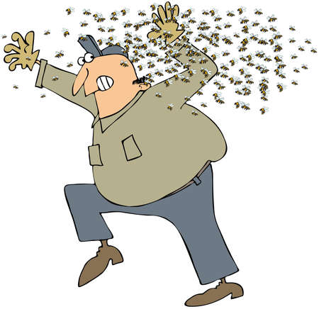 stinger: This illustration depicts a man running from a swarm of bees.