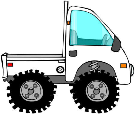 This illustration depicts a Japanese mini truck with ATV tires. Stock Photo