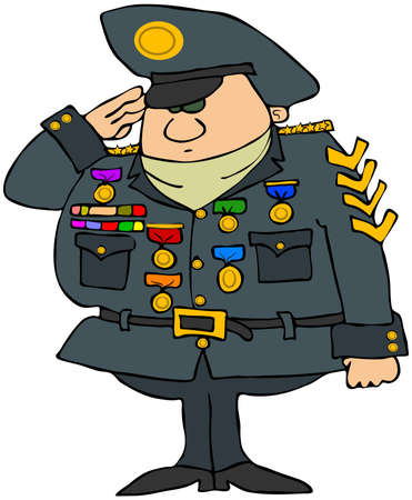 This illustration depicts a man in military uniform and saluting. illustration